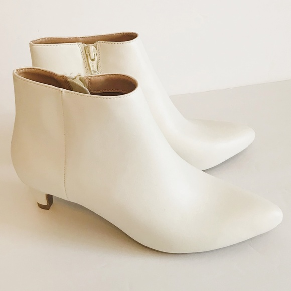 b39fb82150b a new day Shoes - White Flo Kitten Heel Faux Leather Ankle Boot